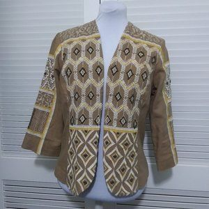 Chicos Neutral Linen Embroidered and Beaded Jacket